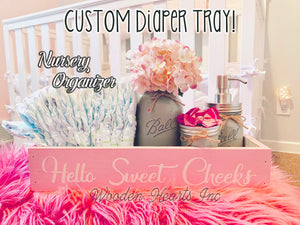 Nursery Decor Diaper Tray  Bathroom Sweet Cheeks Baby NICE BUTT Box Toilet Paper - Wooden Hearts Inc
