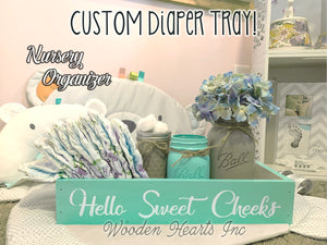 Diaper Holder BABY Nursery Decor Bathroom Sweet Cheeks Boy Girl NICE BUTT *Toilet Paper - Wooden Hearts Inc