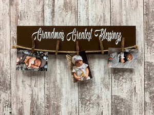MOMS PHOTO Holder Sign GRANDMAS Greatest Blessings Wood Frame Gift for Grandma Mom Grandkids Family - Wooden Hearts Inc