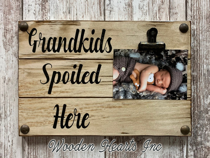 Grandkids Sign Photo HOLDER Wall Dogs Spoiled PHOTO Wood Gift Grandma Grand Kids baby dog