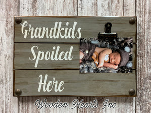 Grandkids Sign Photo HOLDER Wall Dogs Spoiled PHOTO Wood Gift Grandma Grand Kids baby dog - Wooden Hearts Inc