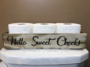 Bathroom tray Sweet Cheeks Tray Toilet Paper Holder *Nice Butt *Blessings *Wood Decor - Wooden Hearts Inc