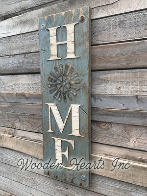 Windmill Wall Decor Sign Home Farmhouse Welcome, Rustic Distressed Wood - Wooden Hearts Inc