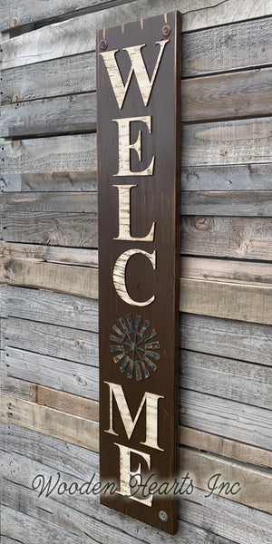 HOME Windmill Sign Indoor Outdoor Farmhouse Welcome  Rustic Distressed Wood - Wooden Hearts Inc