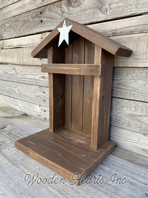 STABLE Top CRECHE for Nativity *WOOD Christmas Decor ***BROWN*** - Wooden Hearts Inc