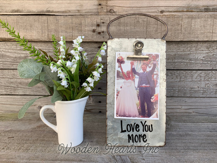 Love you more Sign PHOTO HOLDER Metal Antique Cheese Grater with Clip Picture Frame 4x6 photos