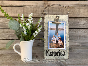 Love you more Sign PHOTO HOLDER Metal Antique Cheese Grater with Clip Picture Frame 4x6 photos - Wooden Hearts Inc