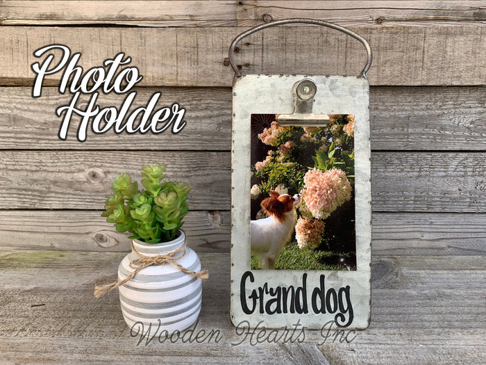Grand dog PHOTO HOLDER Metal Antique Cheese Grater with Clip Picture Frame 4x6 Grand kids