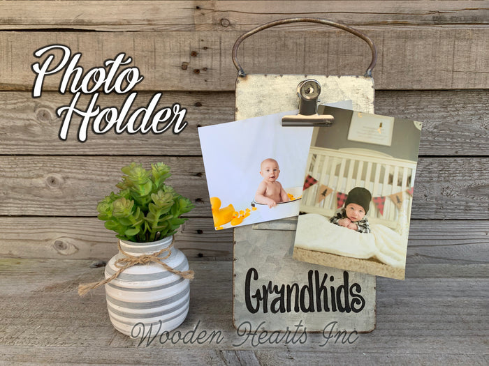 Grandkids PHOTO HOLDER Metal Antique Cheese Grater Picture Frame 4x6 photos Family