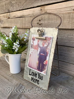 Grandkids PHOTO HOLDER Metal Antique Cheese Grater Picture Frame 4x6 photos Family - Wooden Hearts Inc