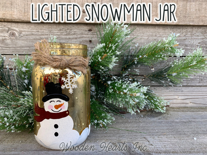 LIGHTED SNOWMAN Jar Christmas LED Lights Hand-painted Silver Gold Metallic Quart Holiday
