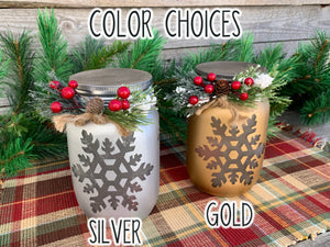 Christmas Jar Reindeer Snowflake Tree with Lid Lights Mason Silver Gold Quart Holiday Pine Berries - Wooden Hearts Inc