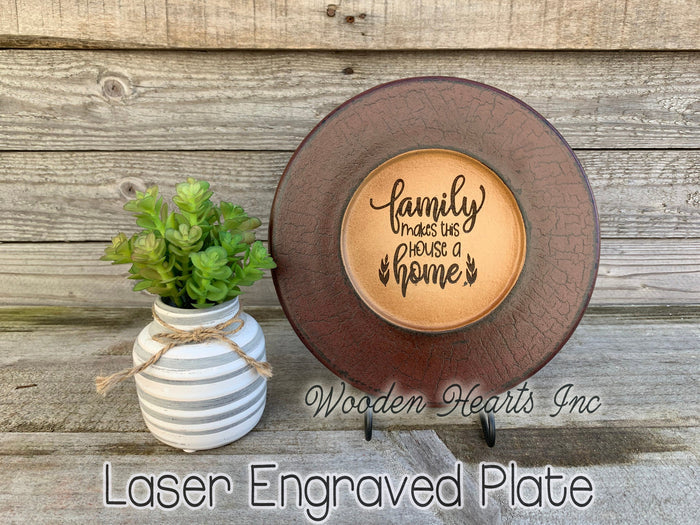 Decorative Plate ENGRAVED *Family makes this House a Home *Decor Housewarming Wedding Gift