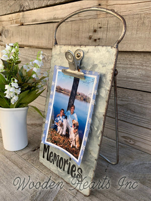 Dog PHOTO HOLDER Metal Antique Cheese Grater Picture Frame 4x6 Fur Baby Babies - Wooden Hearts Inc