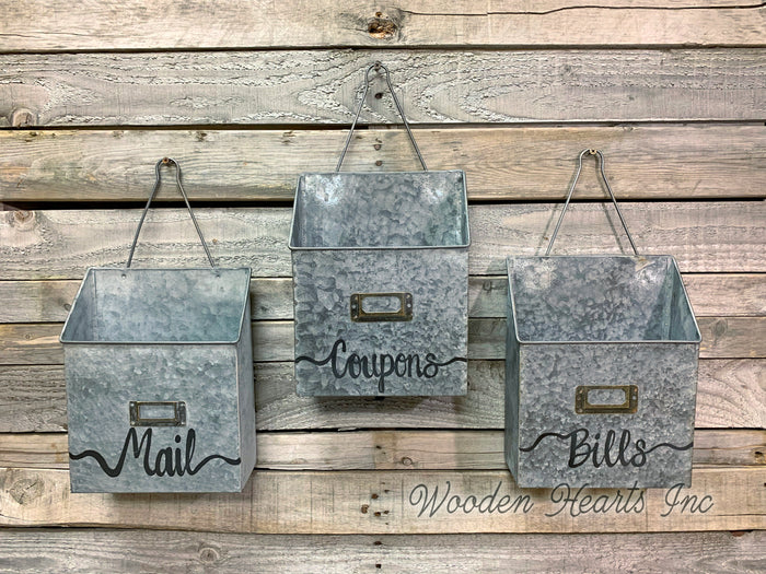 MAILBOX ORGANIZER WALL Bin Metal Mailbox *Clean Dirty Mail Bills Coupons Holder * Fabric FACE MASK