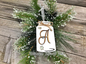 Personalized Ornament Christmas Mason JAR Last Name Family Teacher Wedding Wood Gift - Wooden Hearts Inc