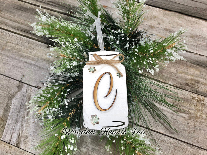 Personalized Ornament Christmas Mason JAR Last Name Family Teacher Wedding Wood Gift