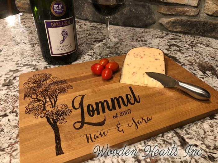 CUTTING BOARD PERSONALIZED Engraved Wood Wedding Anniversary Gift Name Est Date