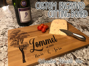 CUTTING BOARD PERSONALIZED Engraved Wood Wedding Anniversary Gift Name Est Date - Wooden Hearts Inc