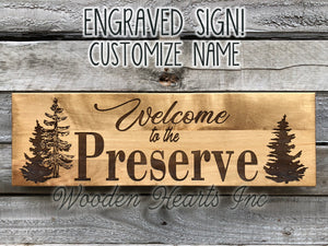 Custom Welcome PERSONALIZED Engraved Family Name Sign Wedding Gift Trees Cabin Lake Wood - Wooden Hearts Inc