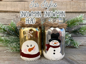 LIGHTED SNOWMAN Jar Christmas LED Lights Hand-painted Silver Gold Metallic Quart Holiday - Wooden Hearts Inc