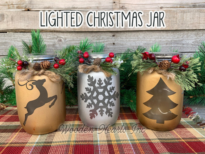 Christmas Jar Reindeer Snowflake Tree with Lid Lights Mason Silver Gold Quart Holiday Pine Berries