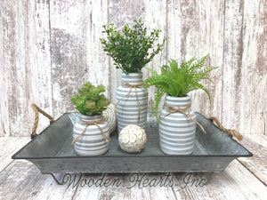 Vase SUCCULENT PLANTS in Ceramic Pottery bottle striped Pot Jar Mini Greenery Decor - Wooden Hearts Inc