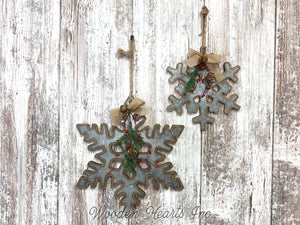 "CHRISTMAS DECORATIONS Xmas Decor Snowflake *Wall Hanging Pine Berries 8"" or 12"" Ornament - Wooden Hearts Inc"