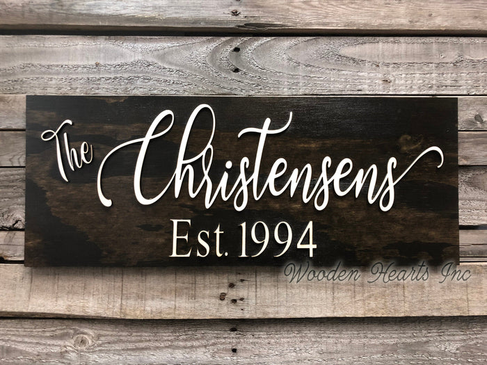Family Name Sign Wood 3D Established Date CUSTOMIZED Welcome PERSONALIZED Wedding Gift 9x23