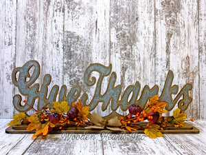 FALL DECOR Welcome Give Thanks Standing Cutout Word Sign Leaves Greenery Garland Thanksgiving - Wooden Hearts Inc