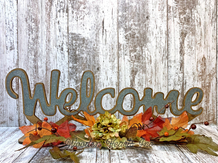 FALL DECOR Welcome Give Thanks Standing Cutout Word Sign Leaves Greenery Garland Thanksgiving