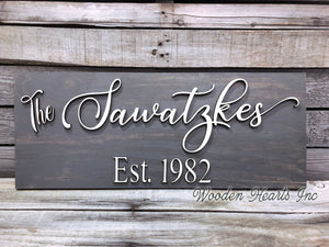 Family Name Sign Wood 3D Established Date CUSTOMIZED Welcome PERSONALIZED Wedding Gift 9x23 - Wooden Hearts Inc