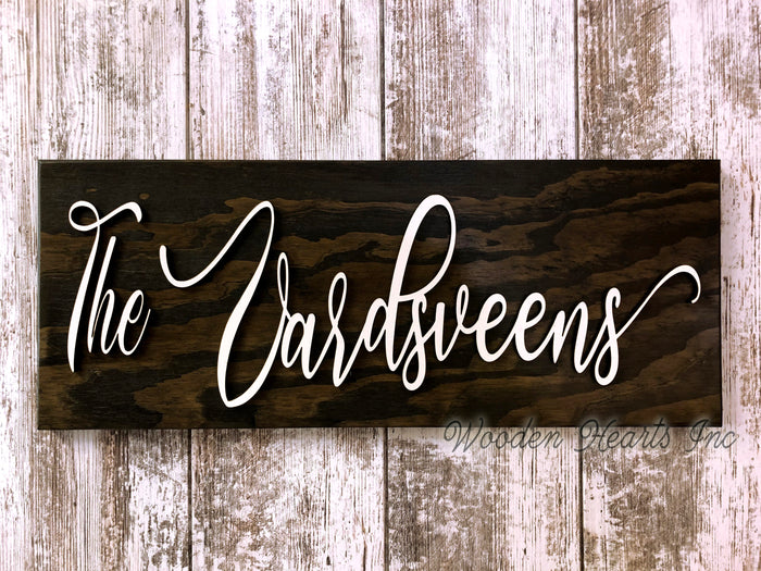 Family Name Sign Wood 3D Established Date CUSTOM Welcome PERSONALIZE Wedding Gift 9X23