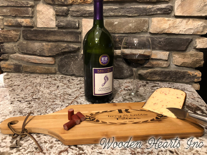 CUTTING BOARD PADDLE Personalized Engraved Wood Wedding Anniversary Gift Name Est Date
