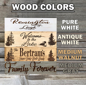 PERSONALIZED Engraved Family Last Name Welcome Sign Gift Trees Lake Camp Camper Wood - Wooden Hearts Inc