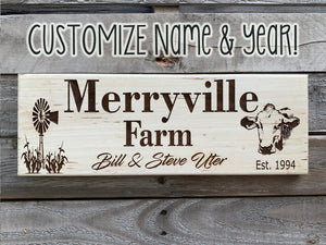 Engraved Farm Name PERSONALIZED Sign Est Year Wedding Gift Windmill Cow Farmhouse - Wooden Hearts Inc