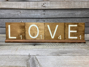 SCRABBLE TILE LETTER Decor Hanging Wood 5x5 *Get 1 letter, or Customize name  word  Block - Wooden Hearts Inc