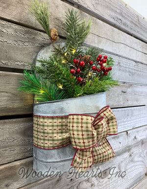 Christmas Wall Tin Pocket Galvanized Planter Metal Lighted Evergreen Hanging Decor Holiday - Wooden Hearts Inc