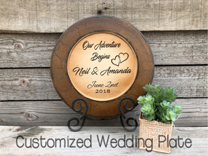 WEDDING GIFT PERSONALIZED Wood Plate Engraved Names Date Custom Anniversary Bridal Gift - Wooden Hearts Inc