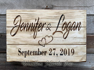 WEDDING Gift PERSONALIZED Engraved Name Sign Established Date Anniversary Family - Wooden Hearts Inc