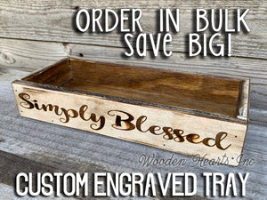 ENGRAVED CUSTOM Tray Wedding Graduation Anniversary Birthday Baby Shower Centerpiece Personalize - Wooden Hearts Inc