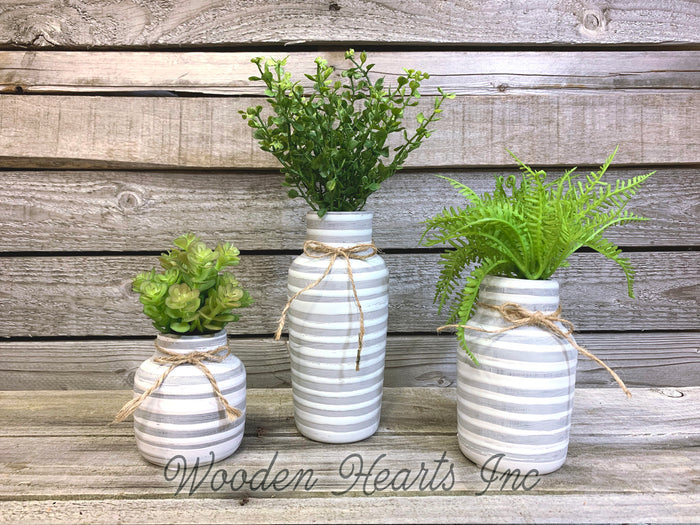 Vase SUCCULENT PLANTS in Ceramic Pottery bottle striped Pot Jar Mini Greenery Decor