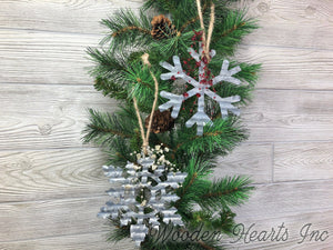 CHRISTMAS ORNAMENT SNOWFLAKE with Beads Xmas Decor *Holiday Metal Wall Hanging - Wooden Hearts Inc