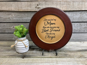 In memory of Gift Mom Best Friend ANGEL *PLATE PERSONALIZE Engraved Name Custom - Wooden Hearts Inc