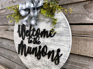 "Personalized Door Hanger Welcome Wreath Custom Last Name 16"" Round Sign Spring - Wooden Hearts Inc"