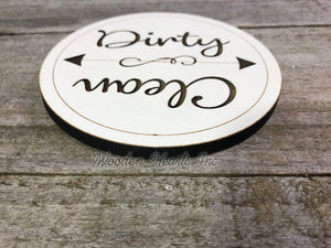 Dishwasher MAGNET CLEAN DIRTY Sign Indicator Strong Magnetic Engraved Flip Dishes Kitchen - Wooden Hearts Inc