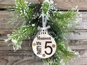 Ornament Personalized Family Party of 1 2 3 4 5 6 7 8 Christmas Name First Engraved Wedding Gift - Wooden Hearts Inc