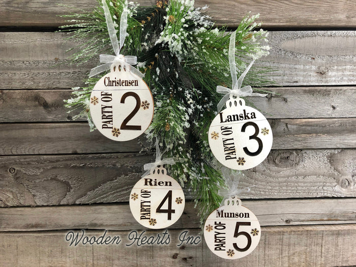 Ornament Personalized Family Party of 1 2 3 4 5 6 7 8 Christmas Name First Engraved Wedding Gift