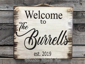 Sign Engraved CUSTOM Welcome to the Family Last Name PERSONALIZED Door Wedding Gift - Wooden Hearts Inc