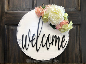 "WELCOME Door Hanger Spring Hello Wreath Flowers 16"" Round Sign Wall Outdoor - Wooden Hearts Inc"